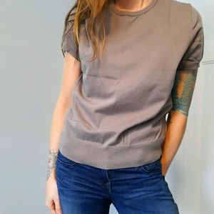 Lands' End taupe knit t-shirt